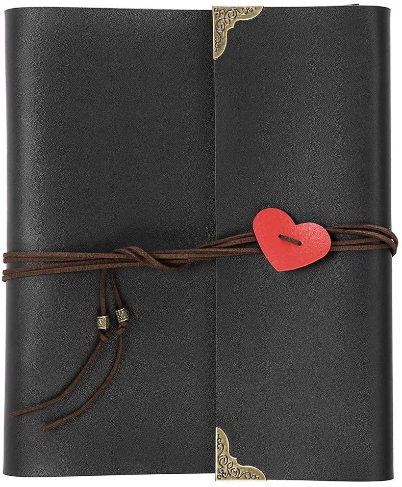 OwnMy DIY Photo Album Scrapbook PU Leather Adventure Photo Book with Corner Stickers Gifted Box - Perfect Baby Memory Book Birthday Wedding Anniversary (Black)