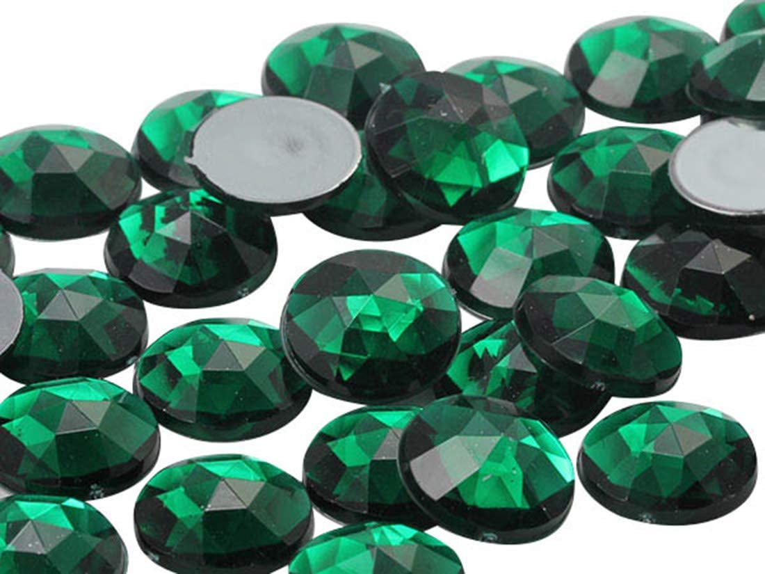 Allstarco 15mm Flat Back Round Acrylic Rhinestones Plastic Gems for Jewelry Making Costume Jewels Cosplay Embelishments - 40 Pieces (Green Emerald .MD)