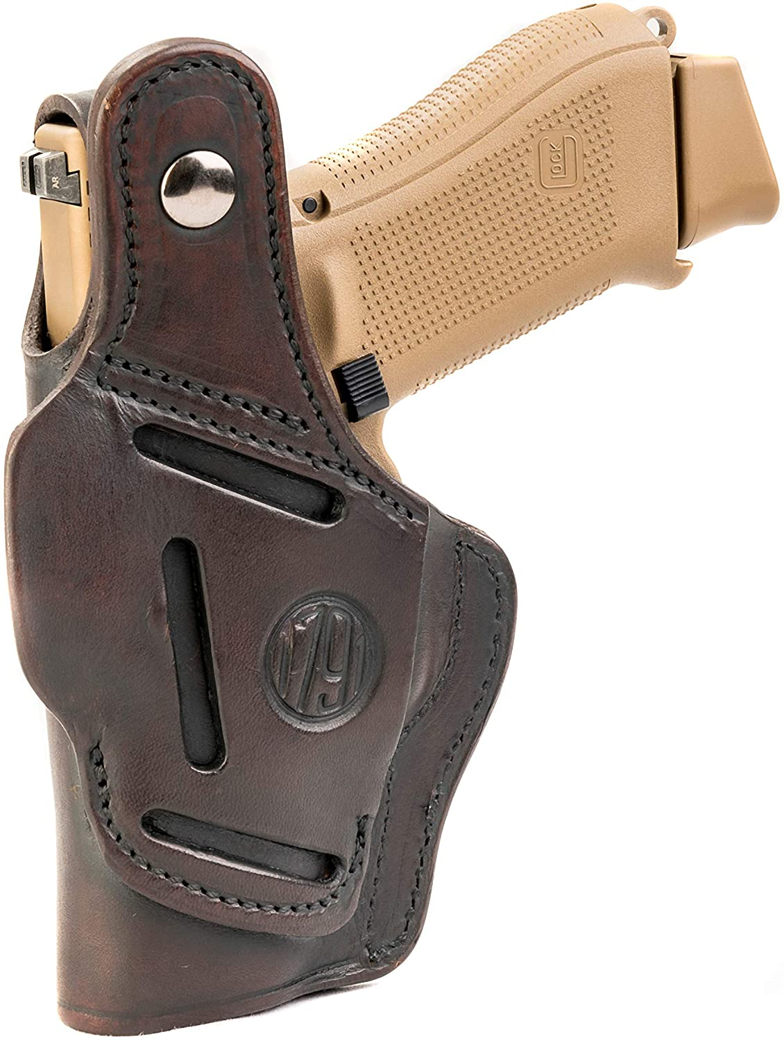 1791 GUNLEATHER Leather Gun Holster - 3 Way OWB Right Handed Thumb Break Holster - Fits Glock 17 19 22 23 32, Ruger SR9 SR22, Sig P225 P299, SW MP9 MP40, Taurus G2