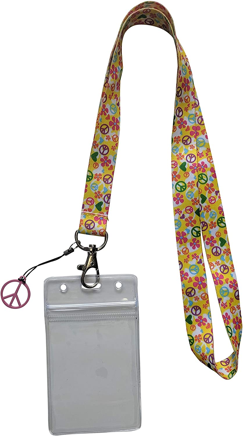 Peace Sign Lanyard ID Badge Holder for School or Work (White w/Flowers)