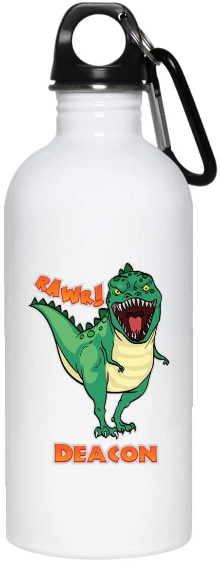 Weezag Deacon Dinosaur Rawr T-Rex Custom Personalized Name Stainless Steel Water Bottle, Boys Dinosaur Birthday Gifts Party Supplies 9241