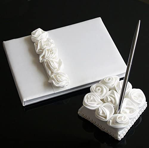 KateMelon Luxury Rose Lined Wedding Guest Book and Pen Set (Off-White)