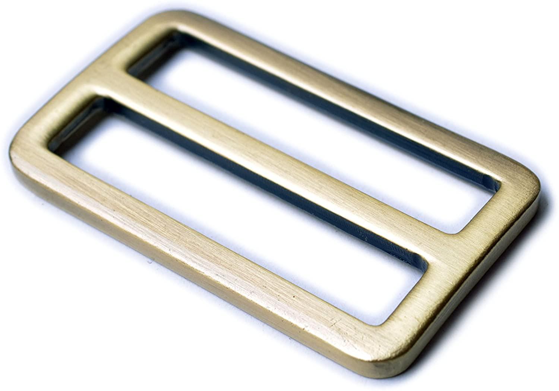Bobeey 5pcs 1 1/2 Brushed Brass Flat Metal Adjuster Sliders,Belt Sliders,Buckle Triglide for Strap Keeper Leathercraft Bag Belt Adjuster Sliders BBC9 (1 1/2 Inch, Brushed Brass)