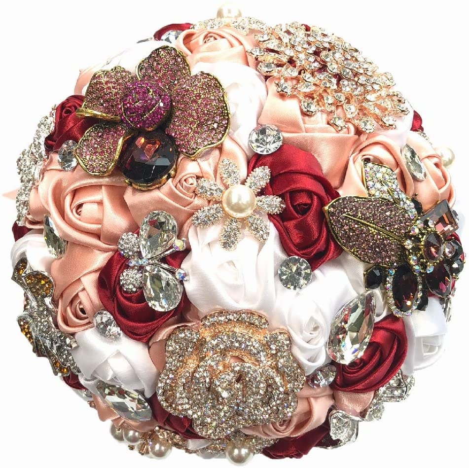 Abbie Home Top Brooch Jewelry Bouquet for Bride Wedding Roses in Blush Pink and Burgundy Pearls and Butterfly Rhinestone Accessories
