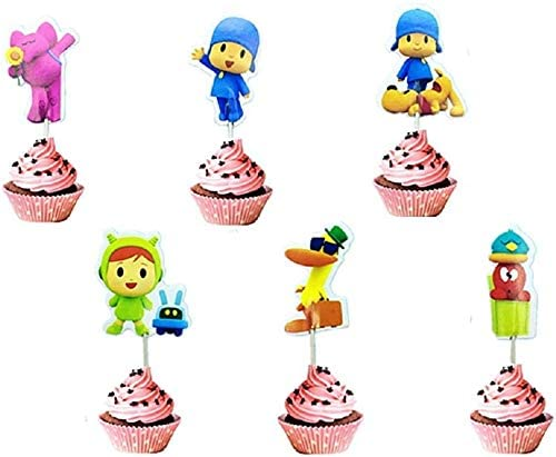 24PCS Pocoyo Cupcake Toppers Party Favors for Kid's Birthday Baby Shower Birthday Decorations