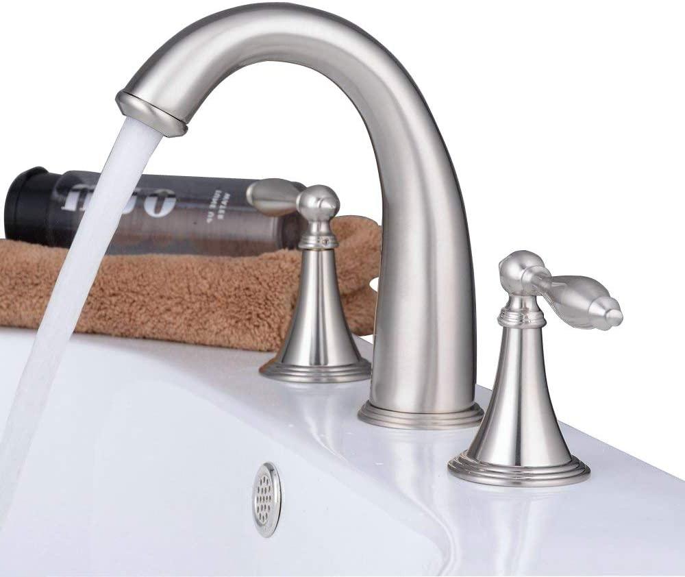 Beelee Modern Style Three Holes Double Handles Widespread Bathroom Sink Faucet, Brushed Nickel