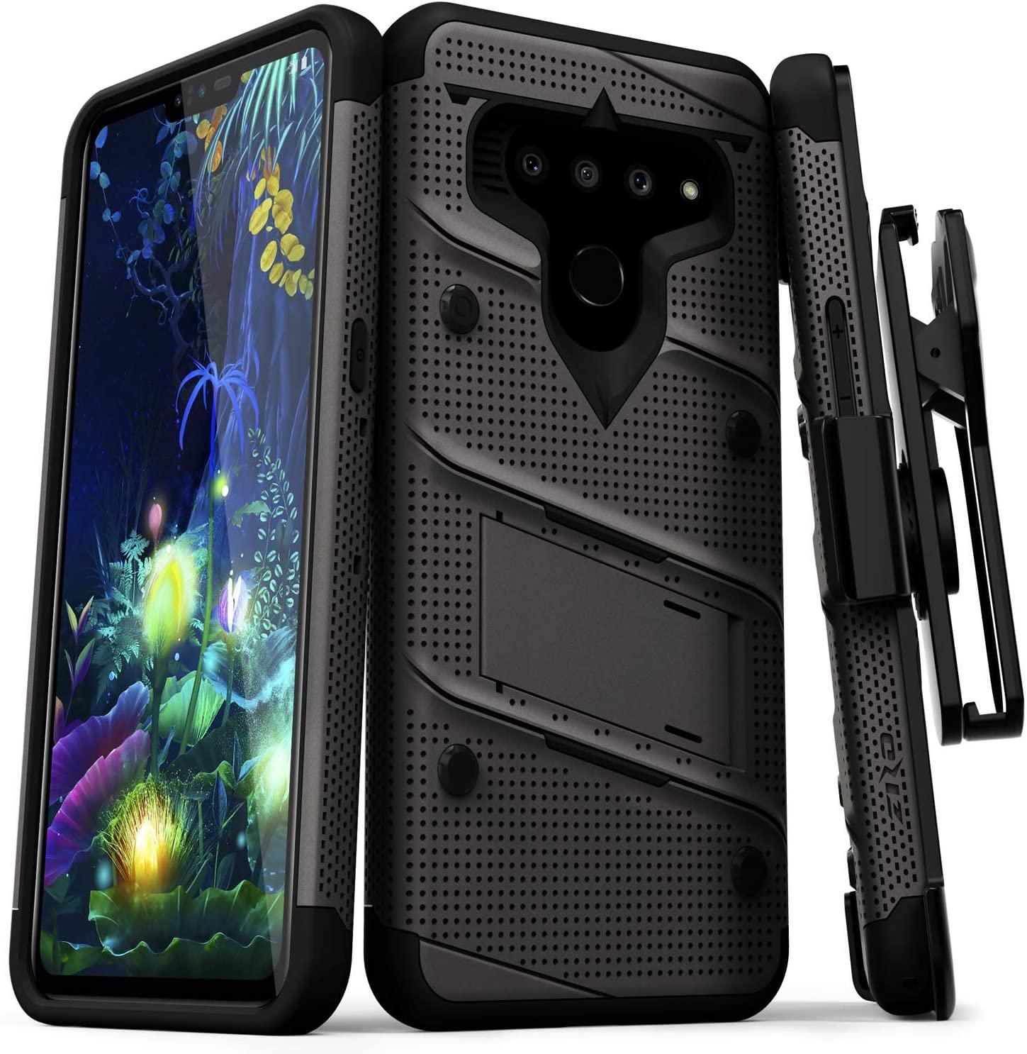 ZIZO Bolt Series LG V50 ThinQ 5G Case | Military-Grade Drop Protection w/Kickstand Bundle Includes Belt Clip Holster + Lanyard Metal Gray Black