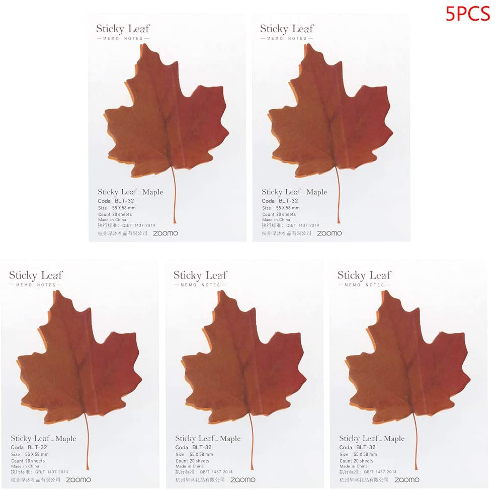 Junlinto,5pcs Plant Leaf Flower Maple Leaves Memo Pad Sticky Notes Bookmark Marker Notepad Kawaii Stickers Message Note 1