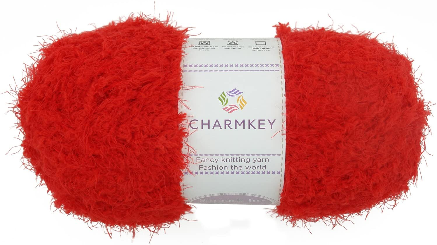 Charmkey Fuzzy Fur Yarn - Soft and Comfy - Easy to Care - Fit 5mm Knitting Needle (Red)