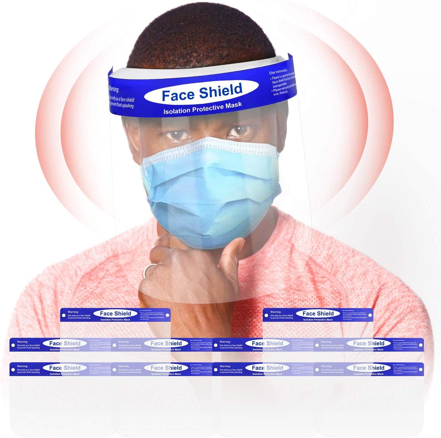 flufluf 10PCS Face Shields Anti-Fog Full Safety Face Shield,Universal Reusable Face Protective Visor for Eye Head Protection,Anti-Spitting Splash Facial