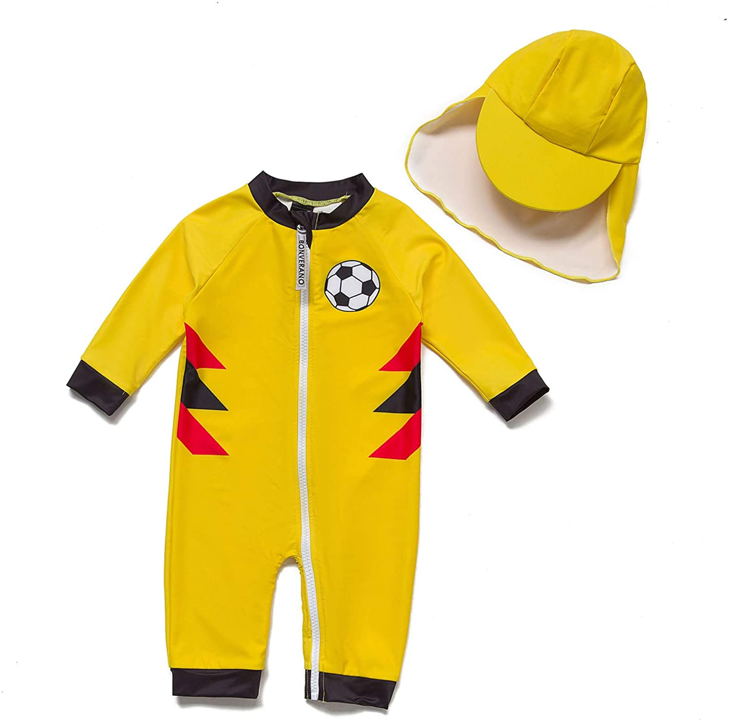 Baby Boys Sunsuits/Swimwear UPF 50+ Sun Protection One Piece Full-Length Zipper Swimsuits with Sun Cap.