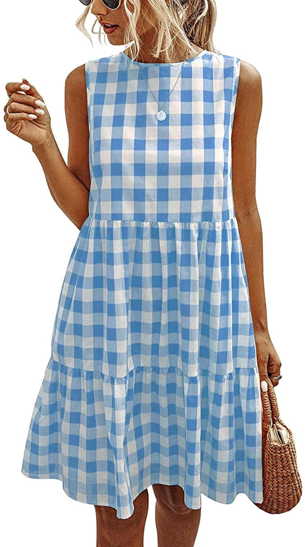 MISSJOY Women's Casual Plaid Sleeveless Ruffle Sundress Round Neck A-Line Pleated Mini Short T Shirt Dress with Pockets