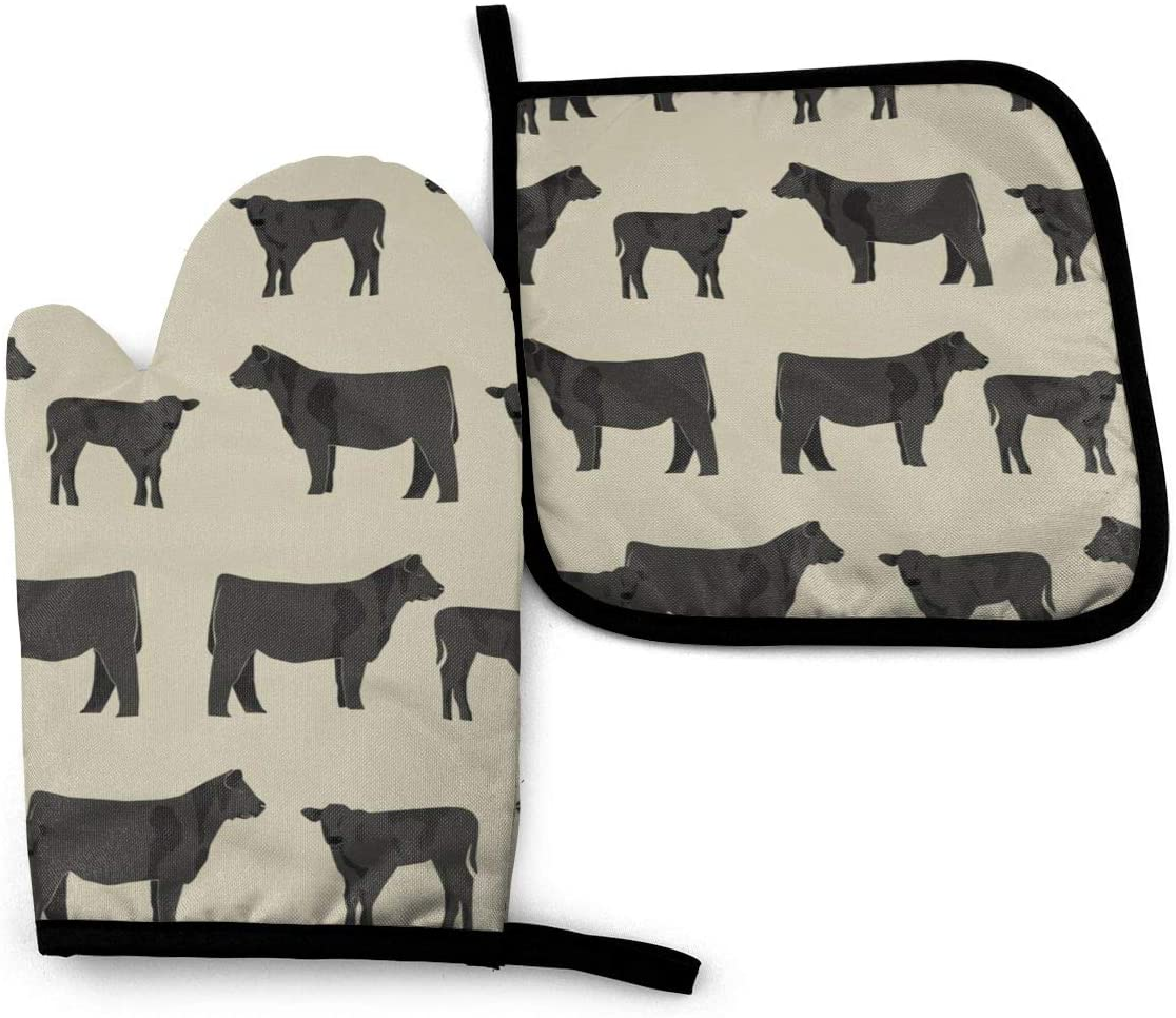 Antvinoler Black Angus Cattle and Cow Cow Design - Sand Oven Mitt Pot Holders Sets,Insulation Gloves Non-Slip Surface for Safe Cooking Pot Baking Grilling Barbecue Etc Daily Needs