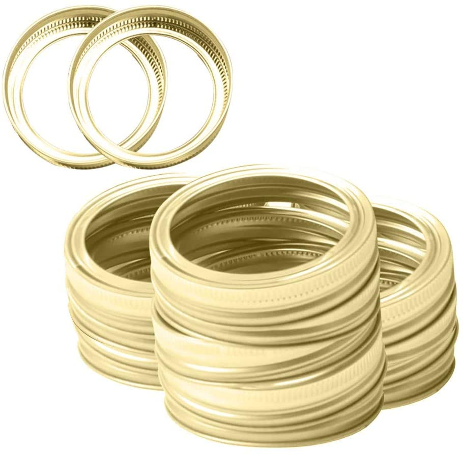 [12PC Jar Rings] Dexuan Mason Jar Caps and Rings with Regular Wide Mouth, Leak Proof Secure Split-Type Mason Jar Lids Bands, Reusable Stainless Steel Set for Kitchen Storage(70mm Gold)