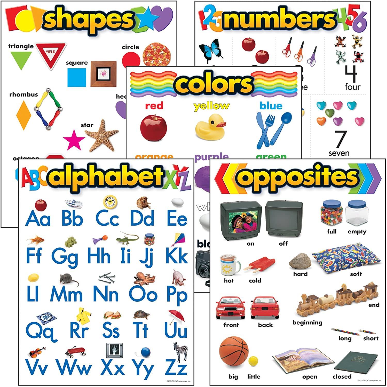 TREND enterprises, Inc. Kindergarten Basic Skills Learning Chts Combo Pk, Set 5