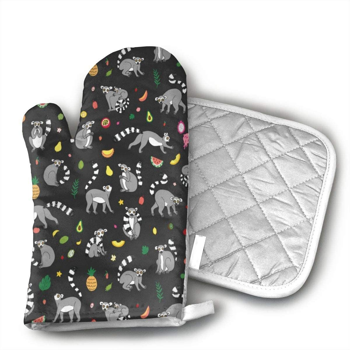 Lemur Animal with Tropical Fruits Oven Mitts and Potholders (2-Piece Sets) - Kitchen Set with Cotton Heat Resistant,Oven Gloves for BBQ Cooking Baking Grilling