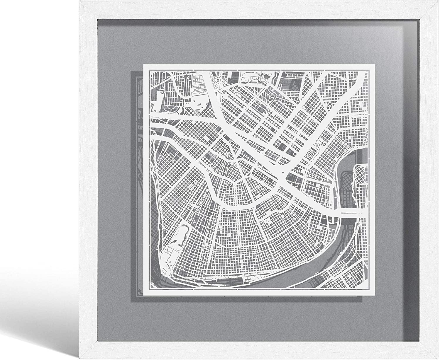 O3 Design Studio New Orleans Paper Cut Map Framed, White map, White Frame, 9x9 inches, Gift Boxed, 4 Background Color, self-Changing, Paper Art