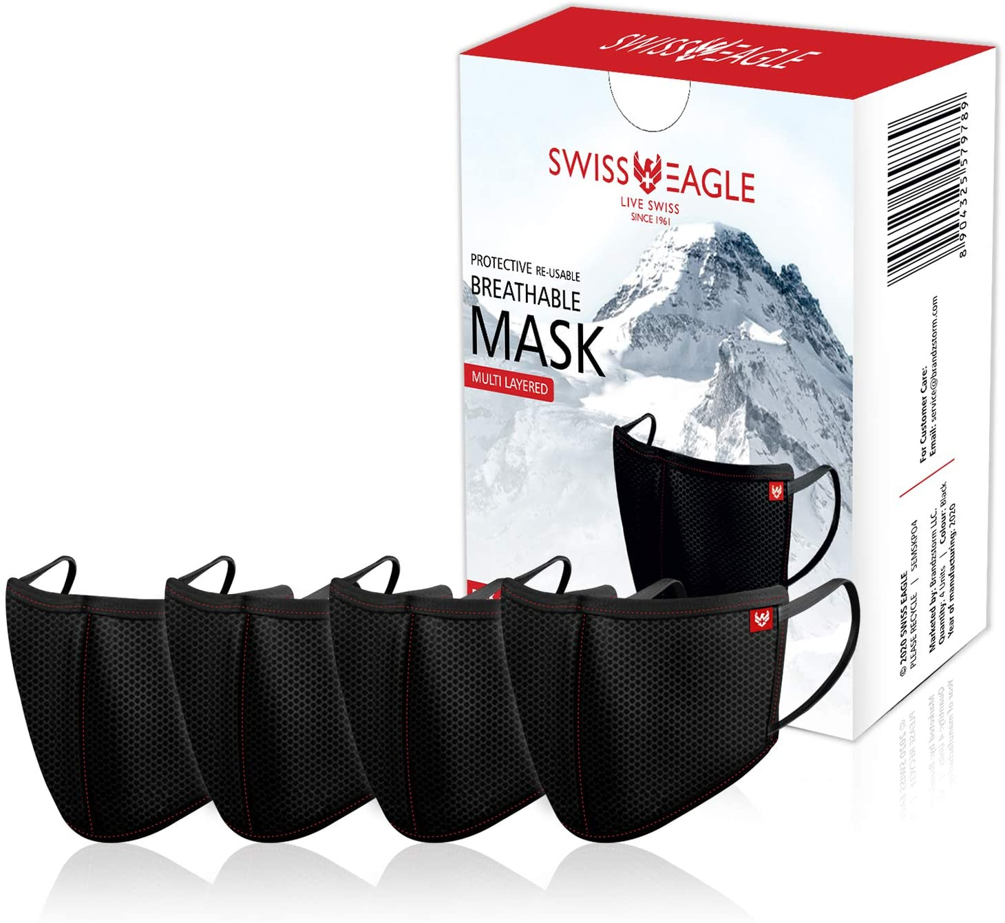 Swiss Eagle Mesh Pack of 4 Black Face Mask Reusable 6 Layer Anti-dust Anti-Pollution