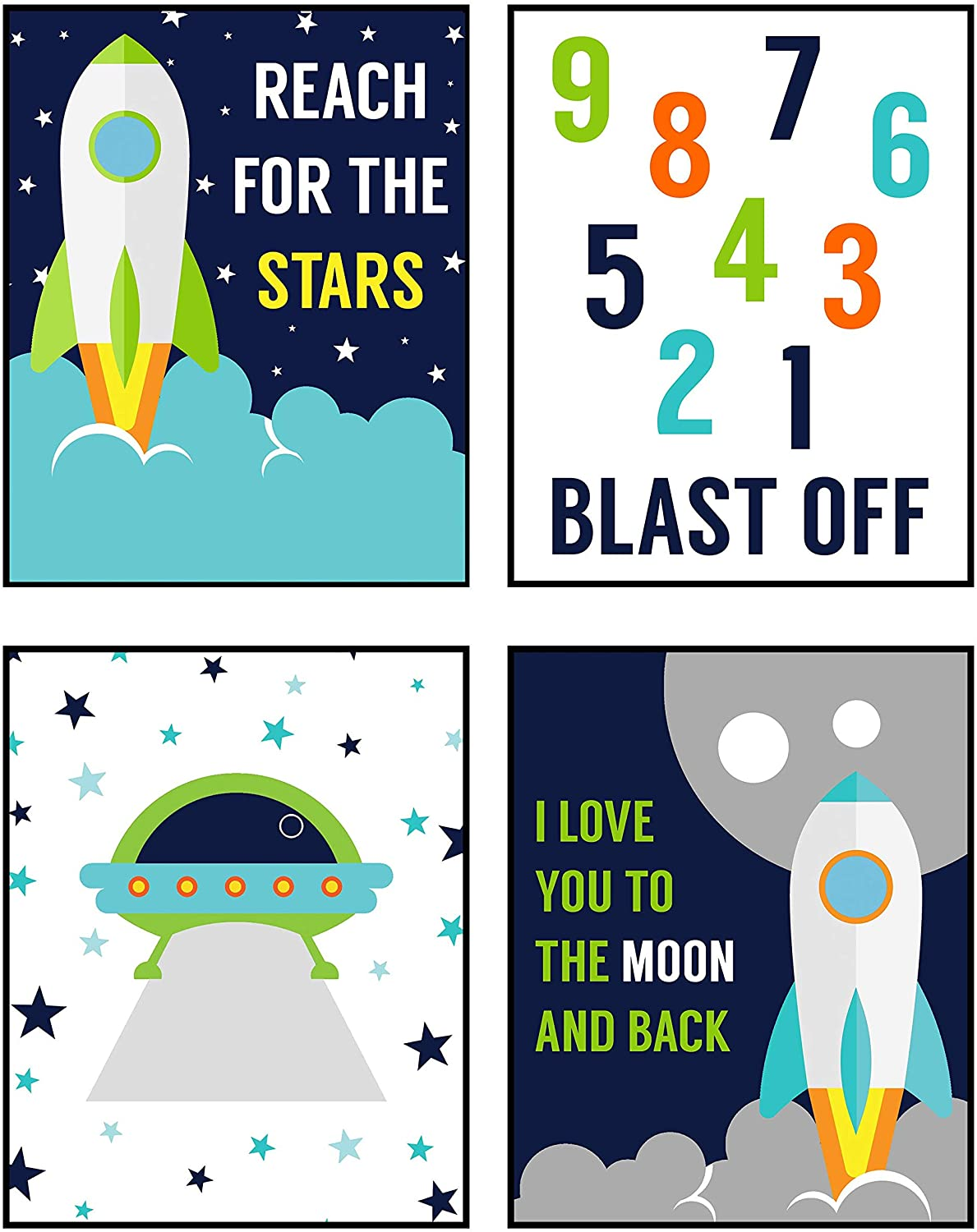 Silly Goose Gifts Space Rocket Solar System Planet Moon Themed Art Print Decor (Room Decor Set)