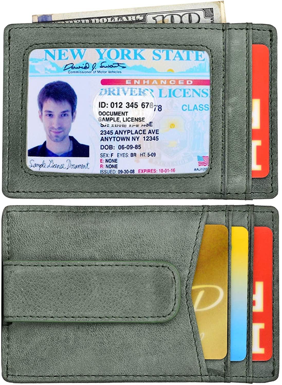 Money Clip Front Pocket Wallet Leather RFID Blocking Thin Wallet Card Holder for Men
