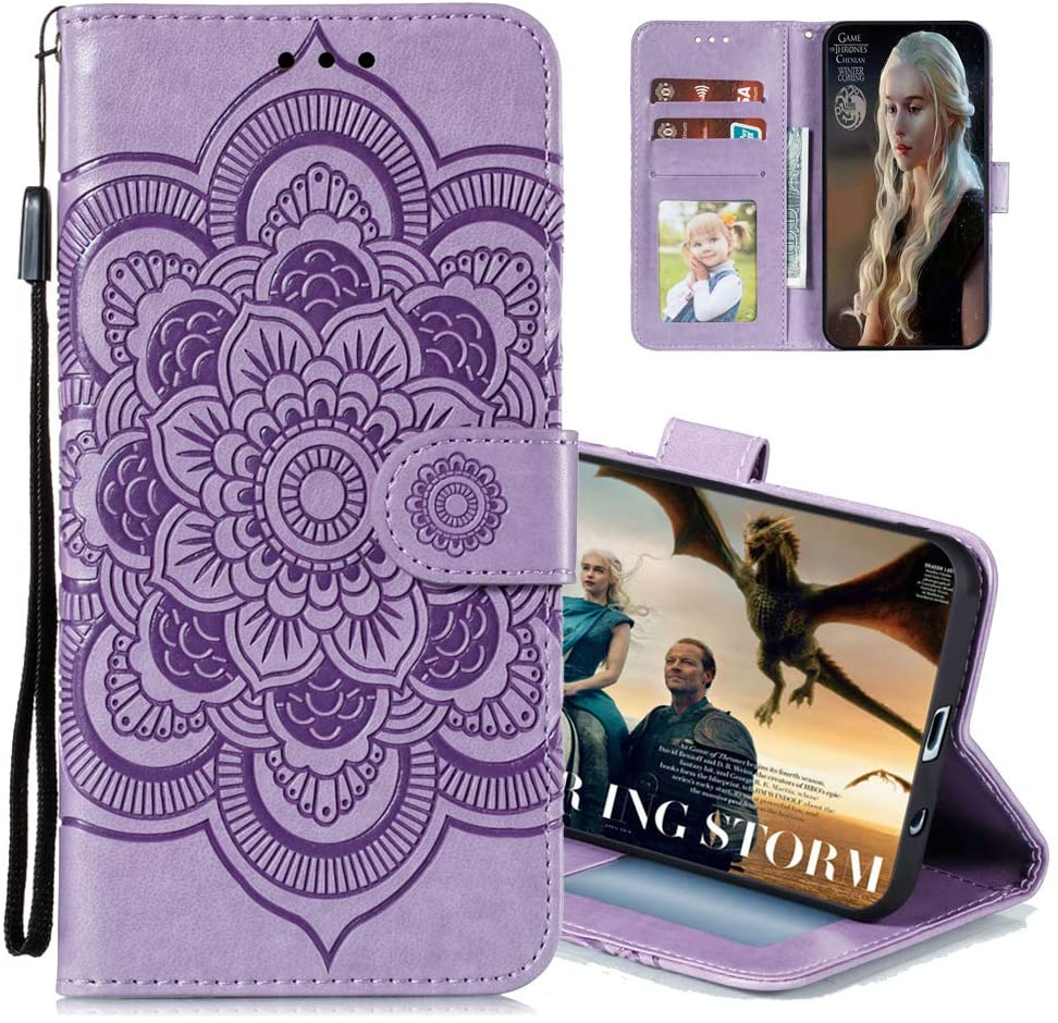 MRSTERUS Case for Xiaomi Redmi Note 8 Case,Wallet Phone Case with ID&Credit Card Pockets for Redmi Note 8,Mandala Design,with Kickstand and Flip Case for Xiaomi Redmi Note 8 Mandala-Purple LD