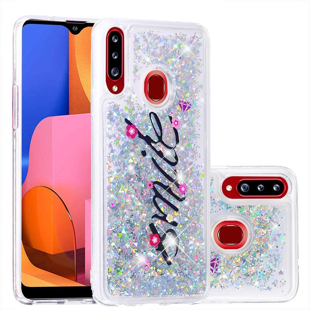 Asdsinfor Galaxy A20S Case Fashion Shiny Transparent Soft TPU Creative Cartoon Cute Quicksand with Shiny Flowing Liquid Cover for Samsung Galaxy A20S Smile YBLS