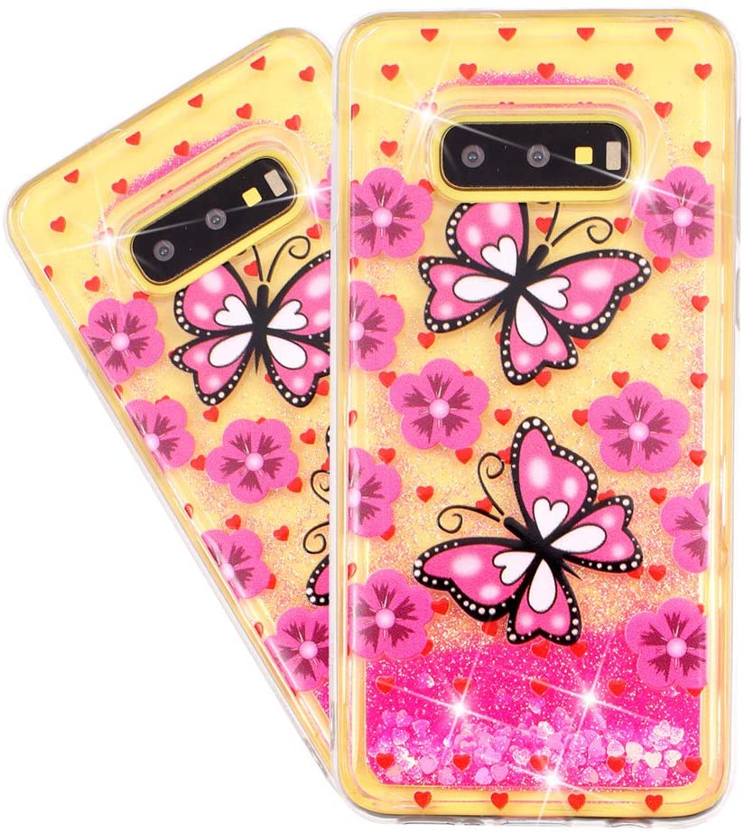 HMTECHUS Case for Galaxy S10e Glitter Liquid Sparkle Floating Shiny Quicksand Clear Soft TPU Silicone Shockproof Protective Bumper Thin Cover for Samsung Galaxy S10 Lite Bling Pink Butterfly XY