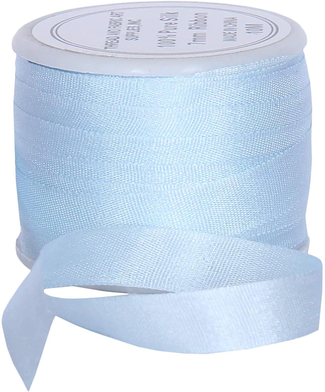 Threadart 100% Pure Silk Ribbon - 7mm Pale Blue - No. 600-3 Sizes - 50 Colors