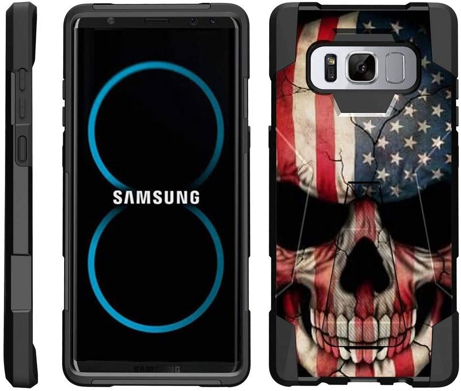 TurtleArmor | Compatible with Samsung Galaxy Note 8 Case | N950 [Dynamic Shell] Hybrid Dual Layer Hard Shell Kickstand Silicone Case - US Flag Skull