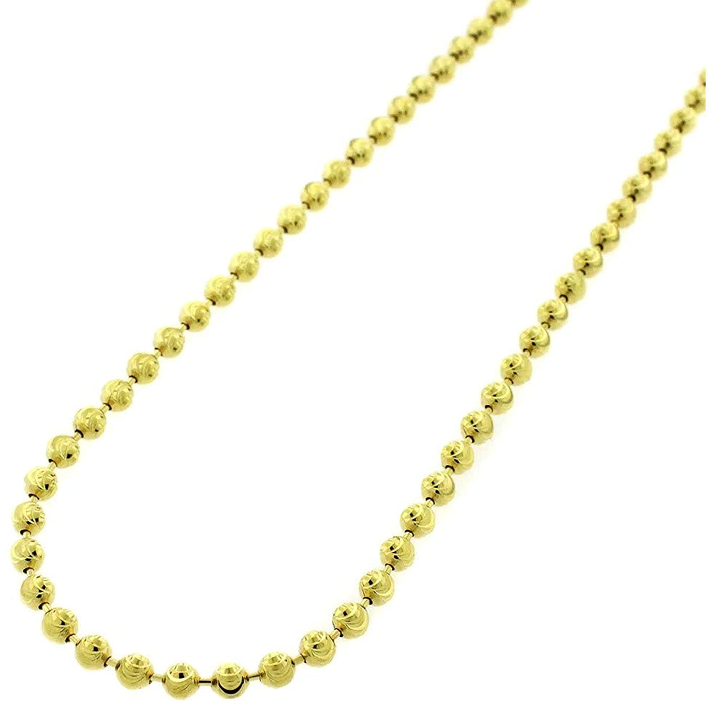 925 Sterling Silver Moon Cut Bead Chain Necklace, 2MM 3MM 4MM-Dog Tag Ball Link Necklace, Silver Beaded Necklace in,Rhodium and Yellow Gold,Men and Women, Silver Jewelry Gift, 16-36