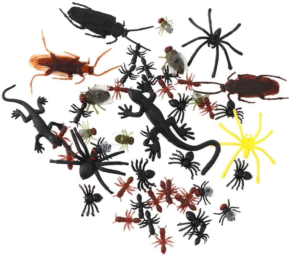 TOYANDONA 100pcs Halloween Realistic Bugs Fake Cockroaches Spiders Geckos Tricky Props Toy Party Supplies for Gardens Decoration (Mixed Style)