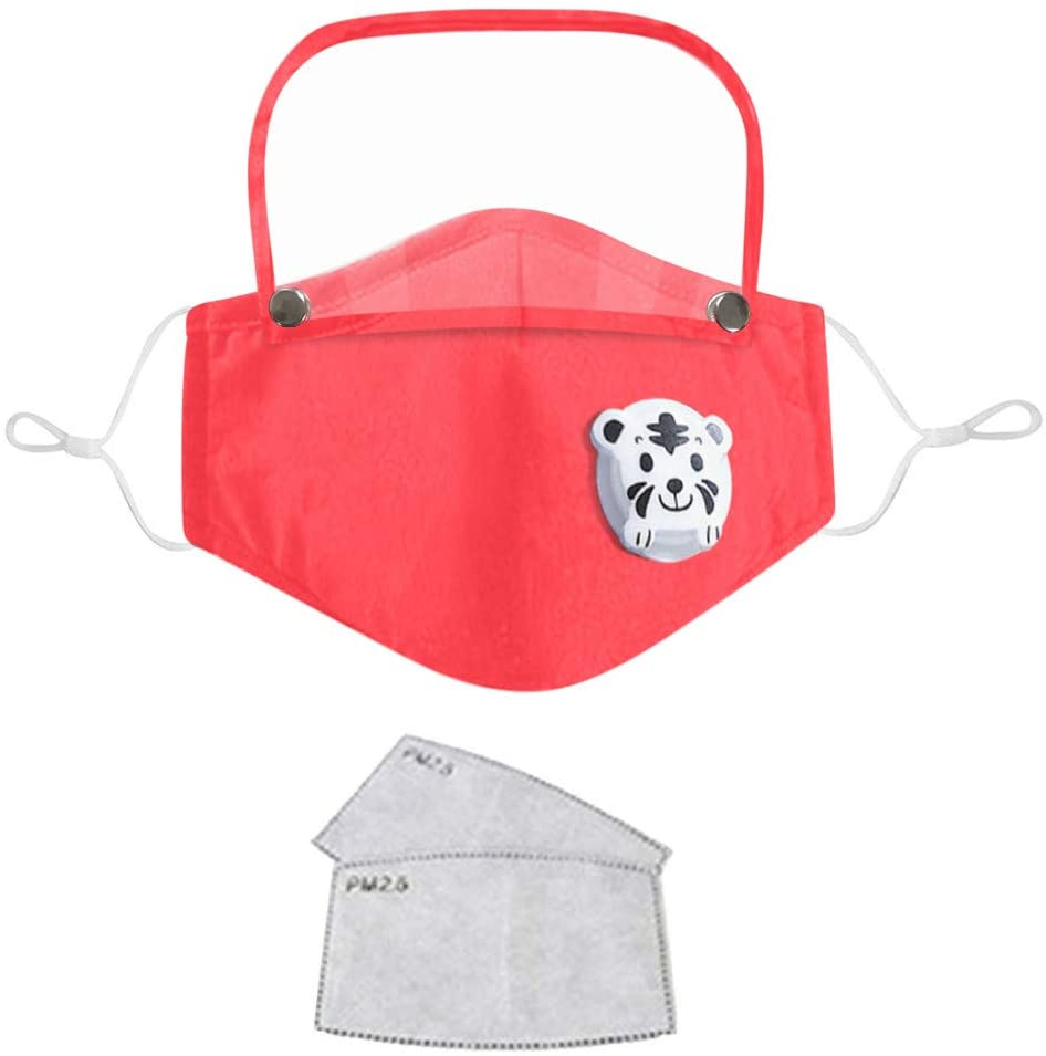Pacoco Kids Dustproof Adjustable Protective Face Scarf Mouth Warm Windproof Face Product Cycling Washable Proof Face 2 x filter TikTok Detachable Eye Shield (Red)
