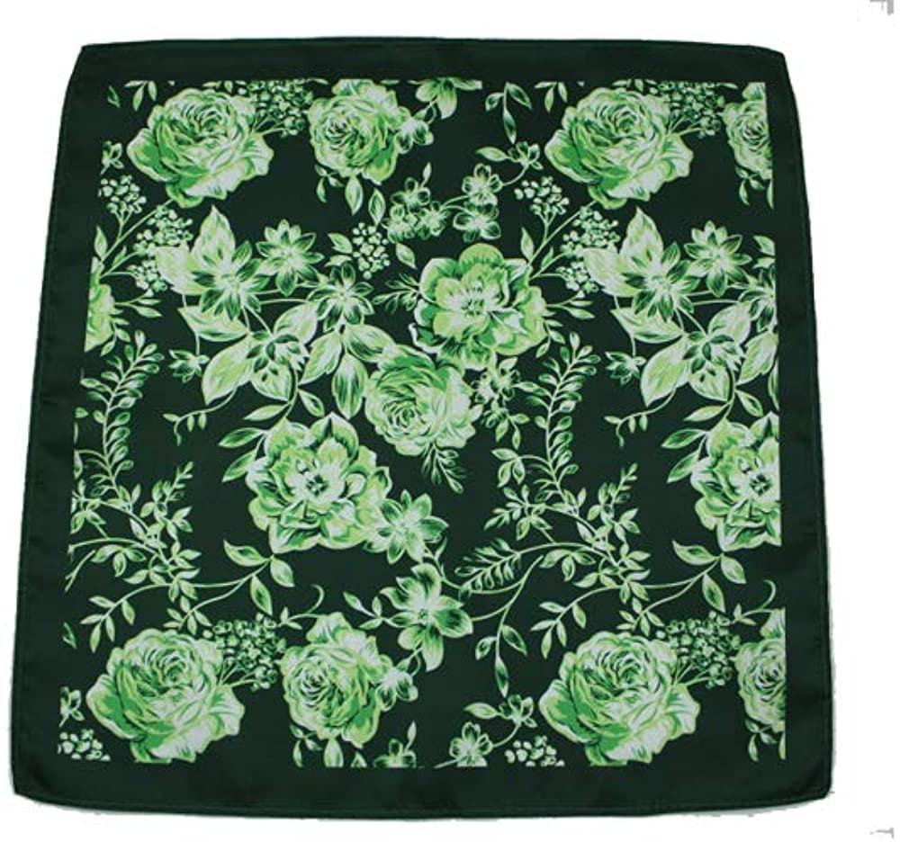 D&L Menswear Green White Floral Silk Pocket Square