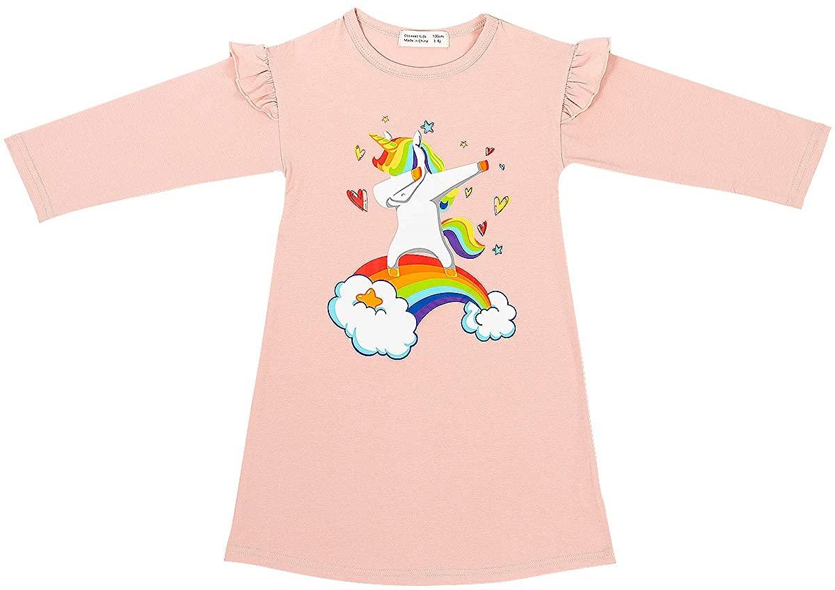 Cosweets Unicorn Cotton Girls' Nightgown, Princess Nightshirt Pajama Night Dresses, Sleepwear Nightie Casual Sleep Shirt