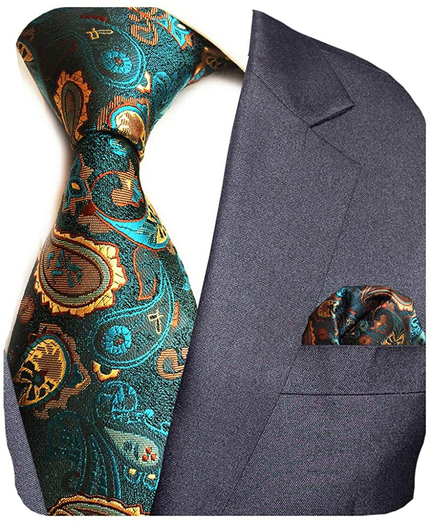 GUSLESON Fashion Paisley Tie and Pocket Square Set Mens Plaid Necktie