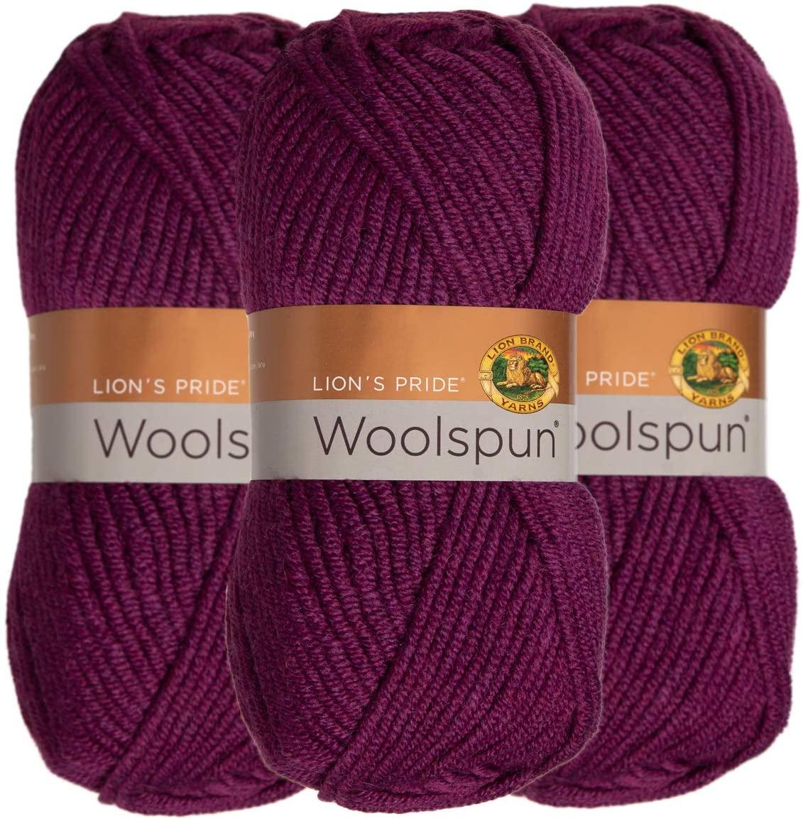 Lion Brand (3 Pack) Woolspun Acrylic & Wool Soft Plum Purple Yarn for Knitting Crocheting Bulky #5