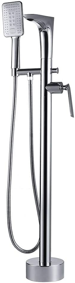 AUXO Solid Brass Freestanding Bathtub Faucet with Handheld Shower, Floor Mount Tub Filler Faucet in Polished Chrome