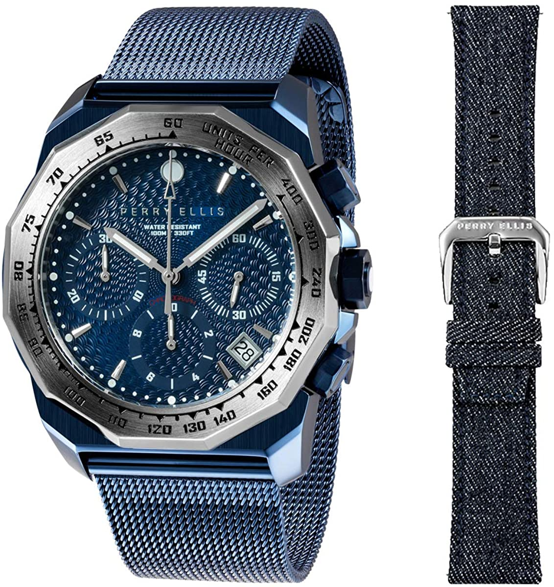 Perry Ellis Decagon GT Quartz Watch Waterproof with Stainless Steel Band Replacement Wool Fabric Stainless Steel Straps for Men and Women