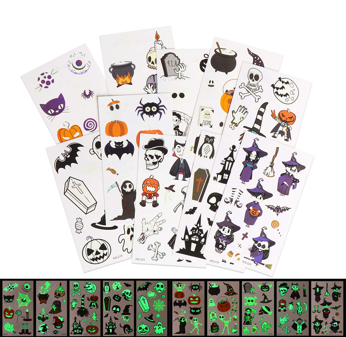10Pcs Halloween Christmas Luminous Tattoo Stickers for Kids, Ghost Spider Web Pumpkin Simulation Face In Dark Temporary Tattoo Party Stickers for Halloween Christmas Gifts (Halloween)