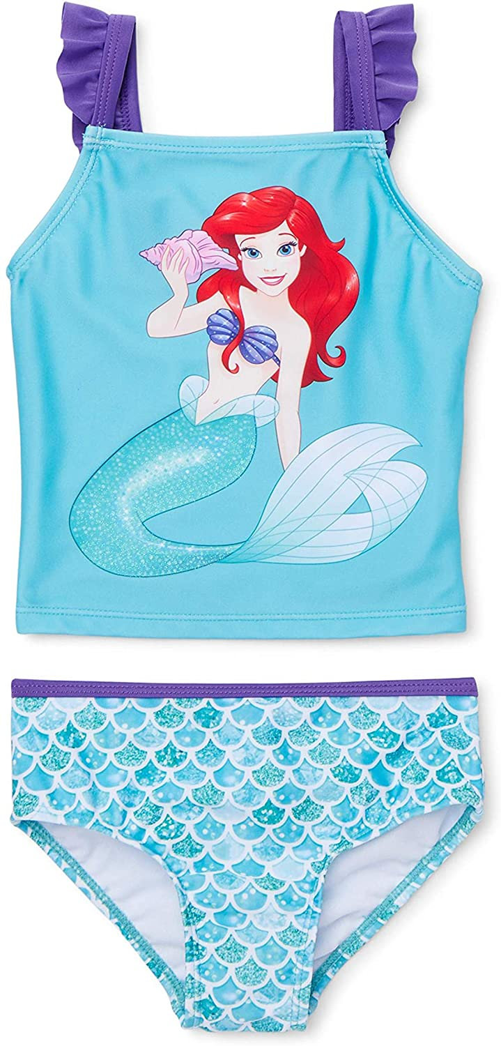 The Little Mermaid Character Two-Piece Swimsuit, Girl Tankini Suits, Machine Washable