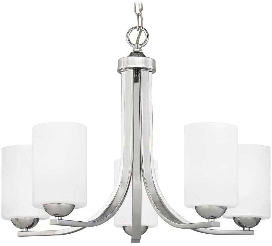 Chrome Chandelier with White Cylinder Glass and Five Lights