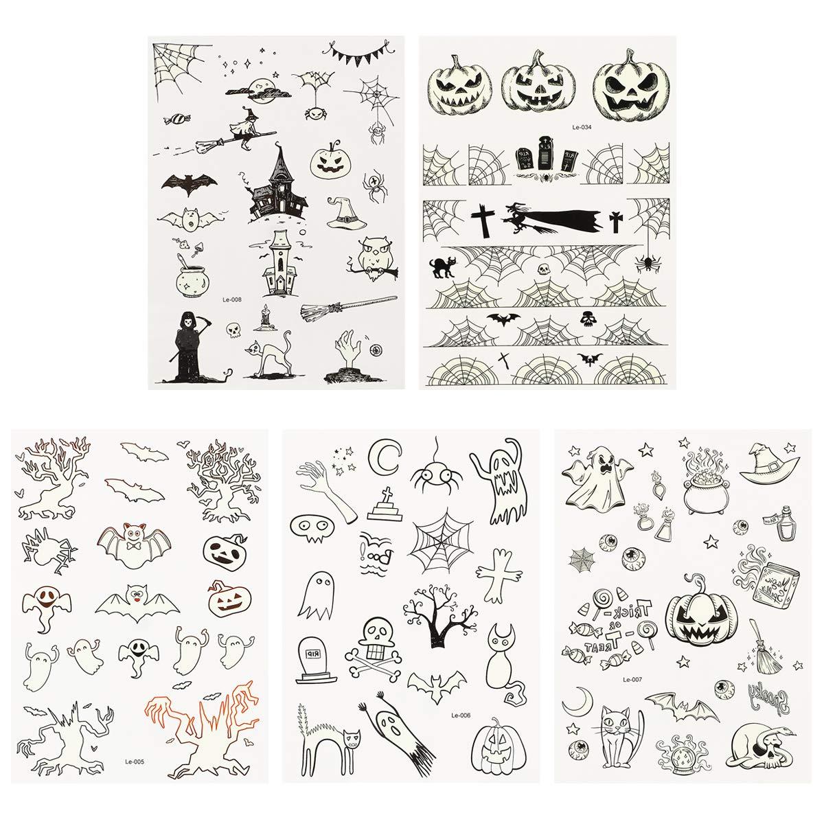 5 Sheets Halloween Tattoos Stickers Waterproof Glow Luminous Tattoos Stickers