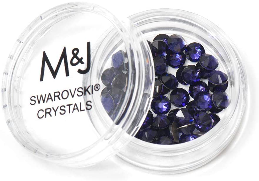 M&J Trimming Swarovski Rhinestone Crystals - Small Flatback Crystal Gems for Nail Art, Clothes, Jewelry, Crafts, and More - 60 Piece Set of 2058 Xirius Rose Cut Rhinestones (SS16, Purple Velvet)