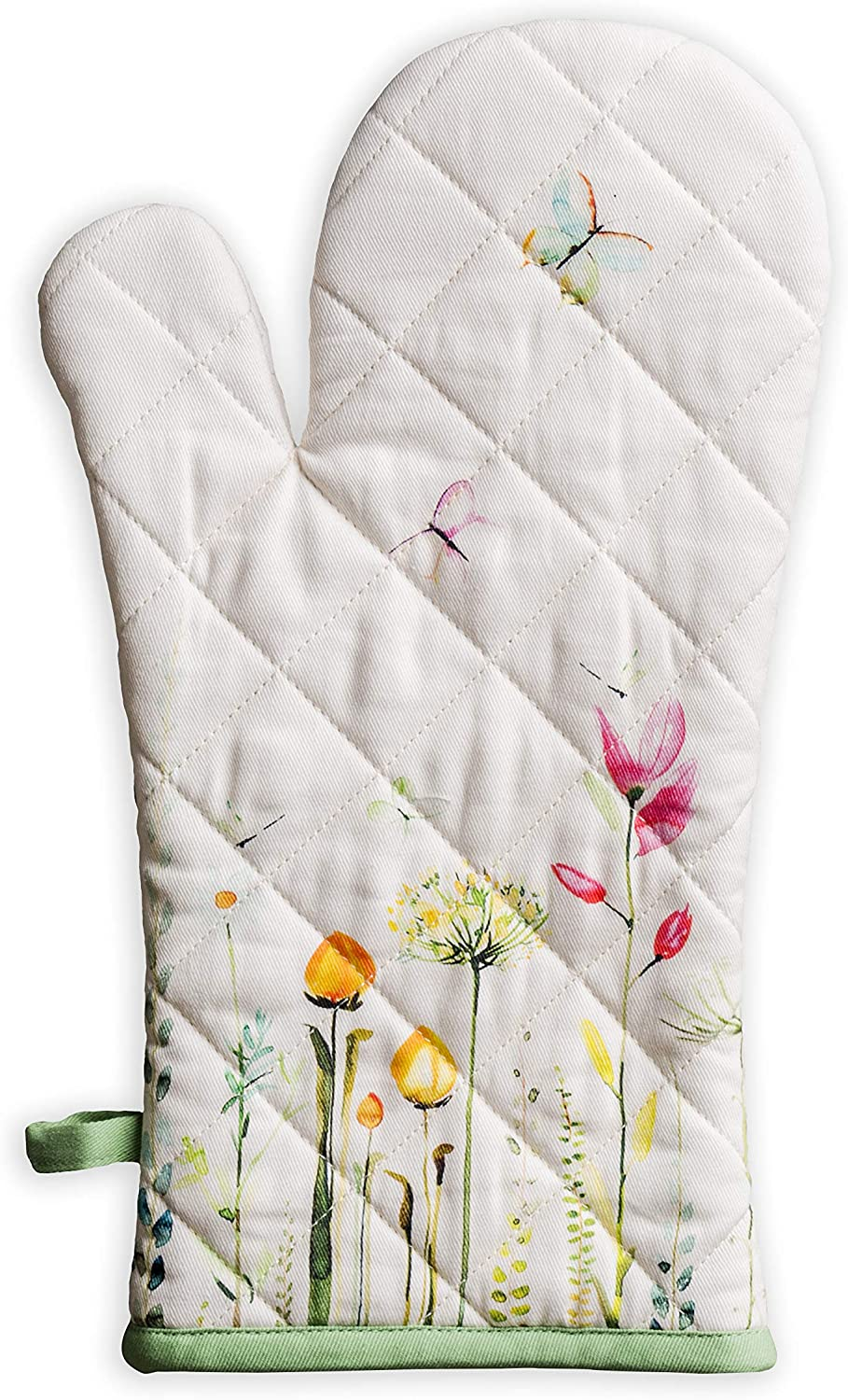 Maison d' Hermine Botanical Fresh 100% Cotton Cooking Gloves | Oven Mitt Heat Resistant for BBQ | Cooking | Baking | Grilling | Microwave | Barbecue | Spring/Summer (7.5 Inch by 13 Inch)