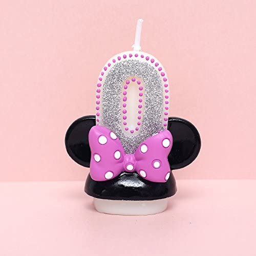 xinchenglove Number 0-9 Cartoon Minnie Candles for Children Birthday Party Cake Topper Decorations Safe Smokeless 1pcs/lot AQ095 (Number 0)