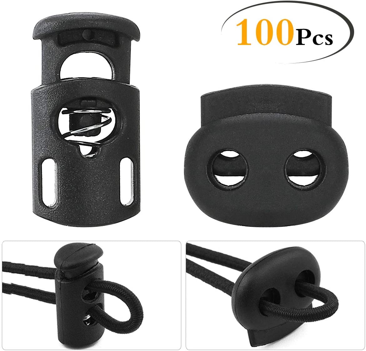 Lebsitey 100pcs Plastic Cord Locks End Spring Stop Toggle STO for Drawstrings, Paracord, Bags, Shoelaces, Clothing, More (50 Double-Hole, 50 Single-Hole, Black)