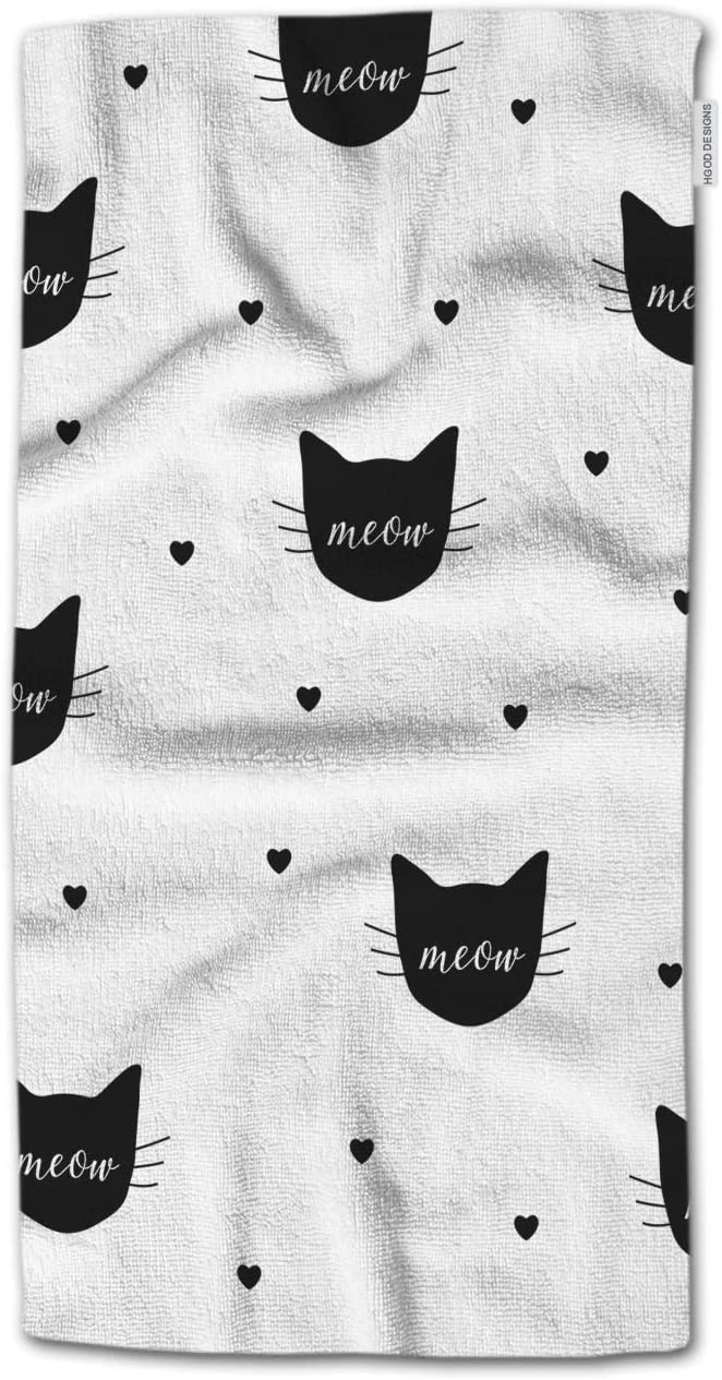HGOD DESIGNS Hand Towel Cat,Black Cats and Hearts with Meow Pattern Hand Towel Best for Bathroom Kitchen Bath and Hand Towels 30
