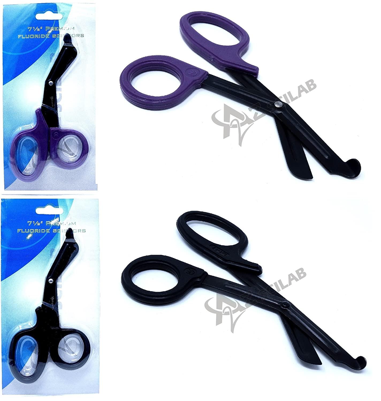 Set of 2 (Black Purple) Fluoride Black Coated Trauma Paramedic EMT Shears Scissors 7.5