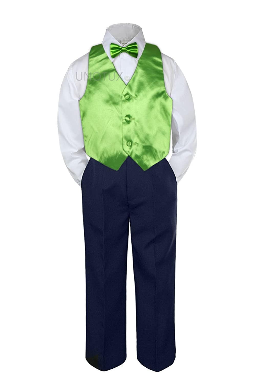Leadertux 4pc Baby Toddler Boys Lime Green Vest Bow Tie Navy Blue Pants Suit S-7 (5)