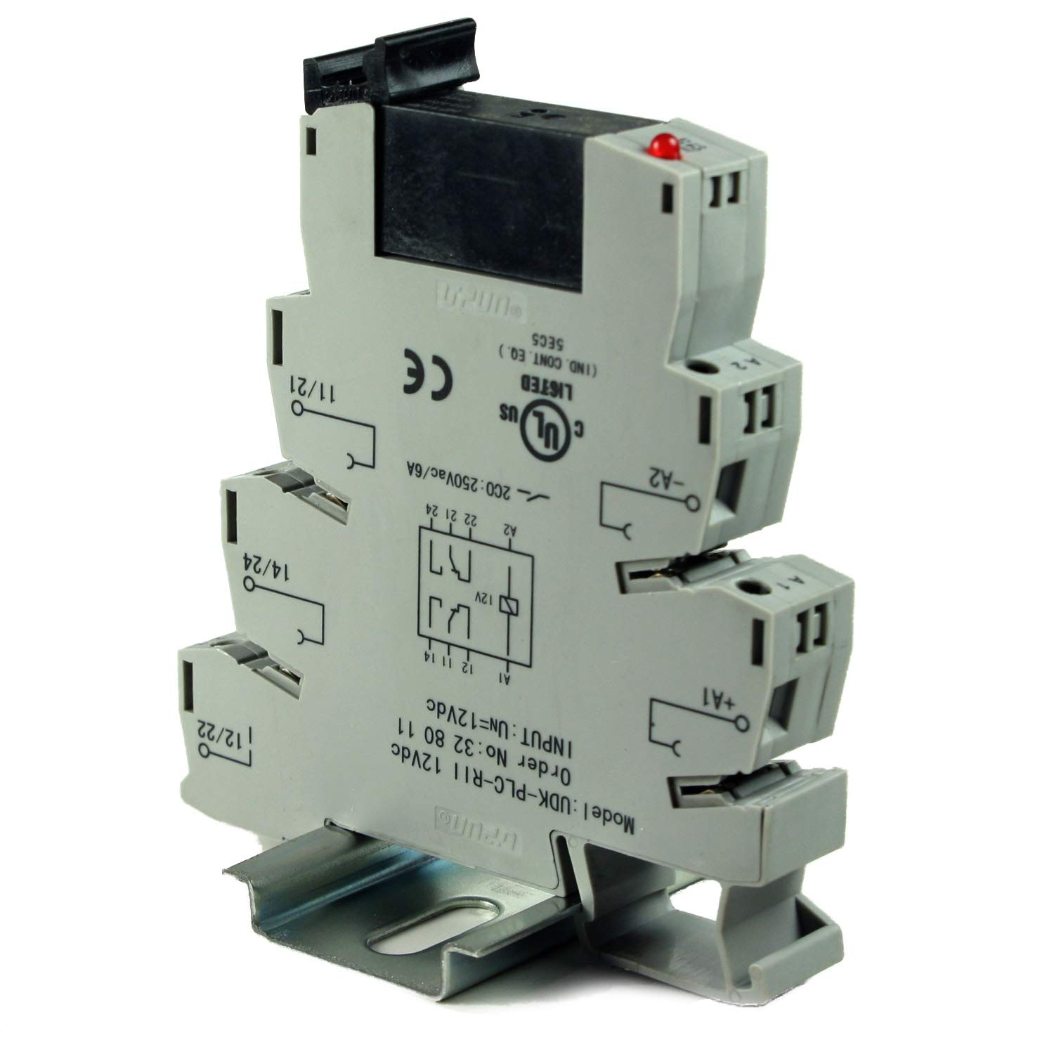 ASI ASI328011 Pluggable DPDT Relay with DIN Rail Mount Screw Clamp Terminal Block Base, 12 VDC Coil, 8 Amp, 250 VAC Rating